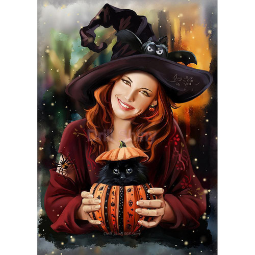 5D Diamond Painting Witch and Her Cat Kit