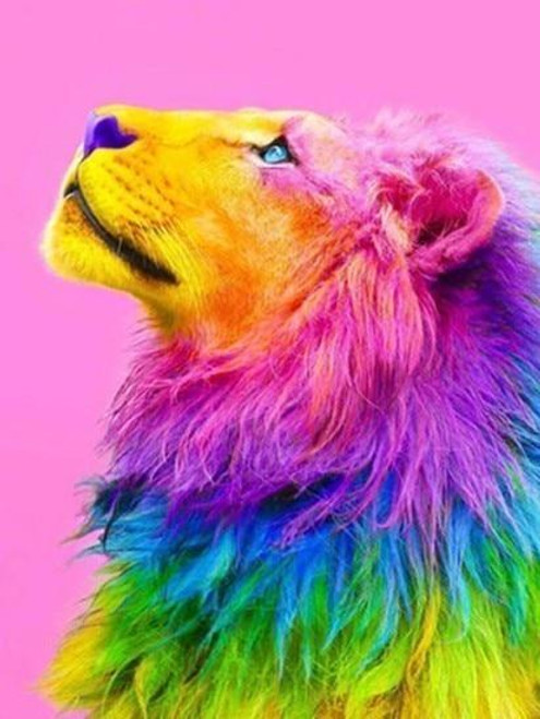 5D Diamond Painting Rainbow Sherbet Lion Kit