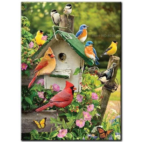 5D Diamond Painting Green Rooftop Birdhouse Kit