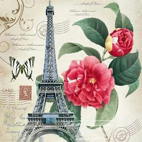 5D Diamond Painting Pink Flower Eiffel Tower Post Card Kit