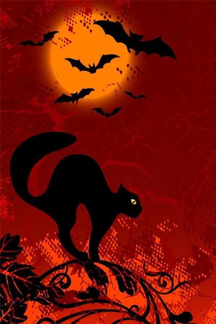 5D Diamond Painting Black Cat and Bats Kit