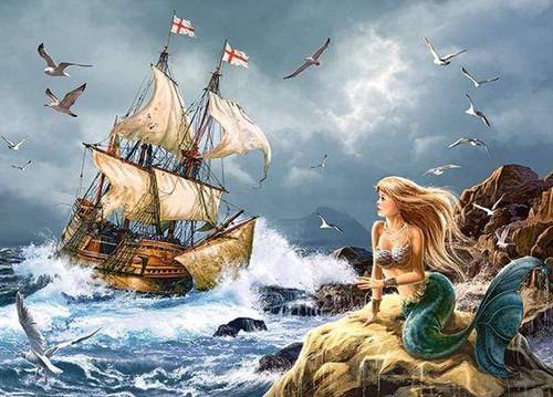 5D Diamond Painting Ship Watching Mermaid Kit