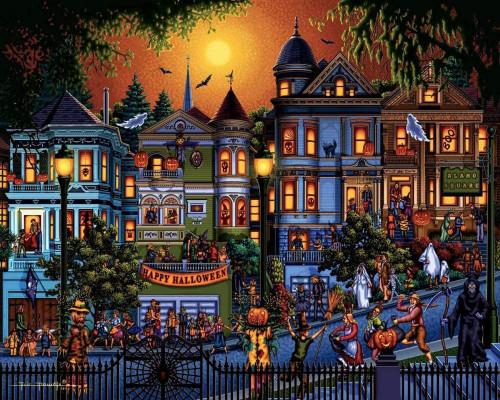 5D Diamond Painting Happy Halloween Neighborhood Kit