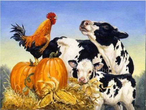 5D Diamond Painting Rooster and Cows Kit