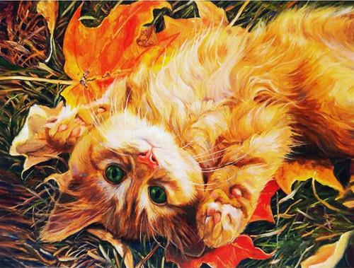 5D Diamond Painting Orange Kitten Fall Leaves Kit