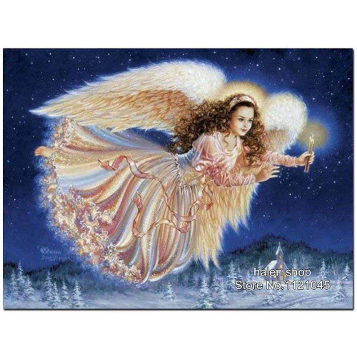 5D Diamond Painting Angel Flying with a Candle Kit