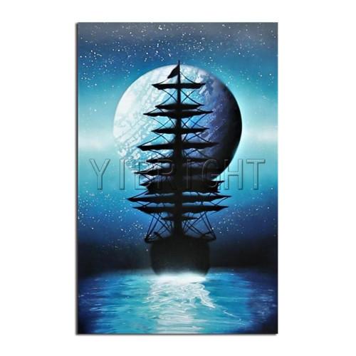 5D Diamond Painting Ship Moon Silhouette Kit