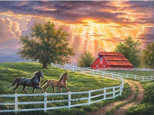 5D Diamond Painting Two Horses Red Barn Kit