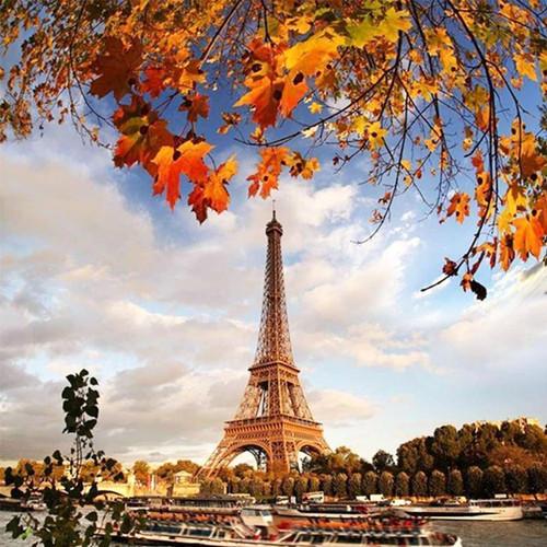 5D Diamond Painting Fall Leaves Eiffel Tower Kit