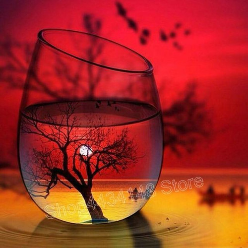 5D Diamond Painting Red Sunset Tree Glass