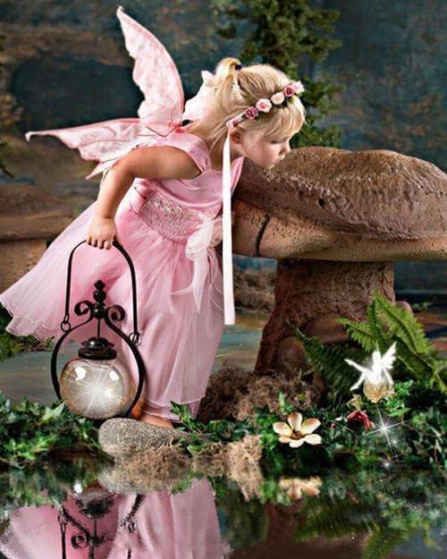 5D Diamond Painting Pink Fairy Mushroom Kit