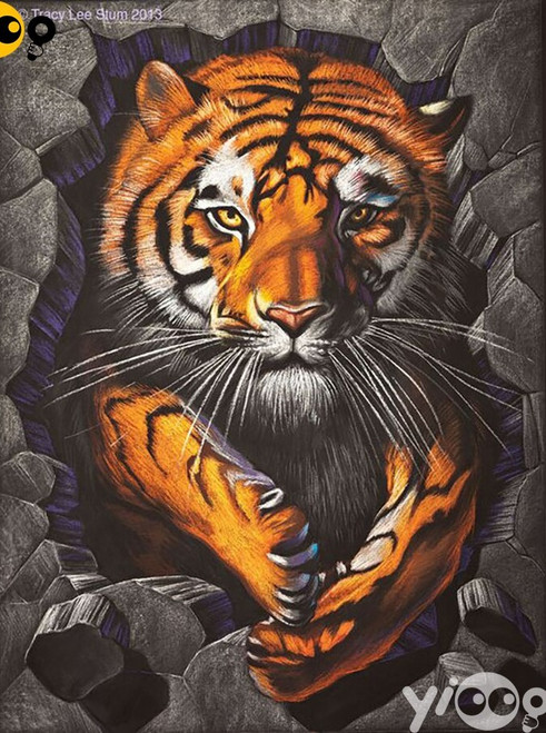 5D Diamond Painting Tiger Stone Wall Kit