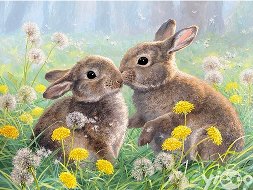 5D Diamond Painting Two Bunnies in the Yellow Flowers Kit