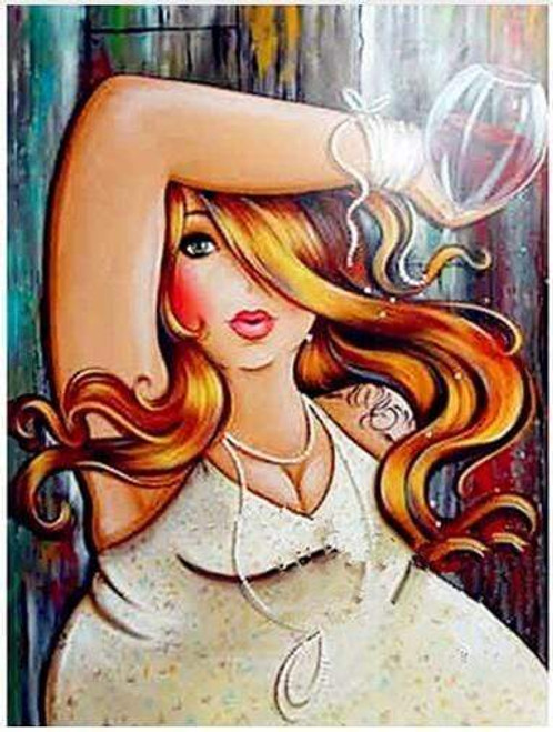5D Diamond Painting Curvy Girl Golden Brown Hair Kit