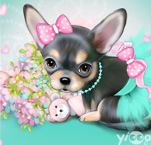 5D Diamond Painting Pink Bow Chihuahua Puppy Kit