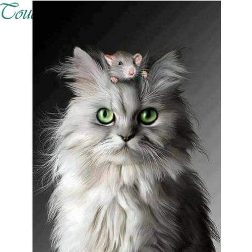 5D Diamond Painting Cat and Mouse Kit