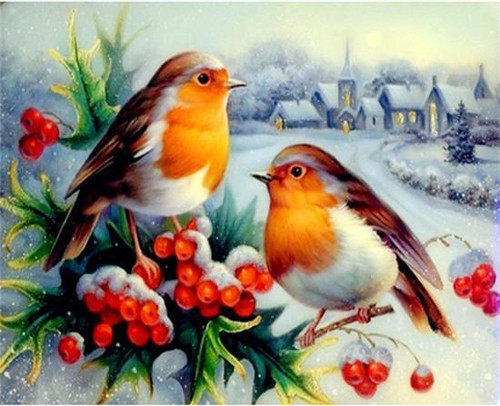 5D Diamond Painting Two Robins in the Snow Kit