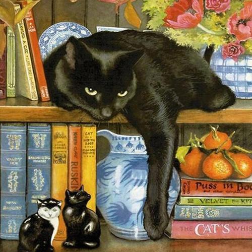 5D Diamond Painting Black Cat on a Shelf Kit