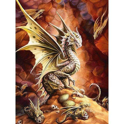 5D Diamond Painting Mother and Baby Dragons Kit