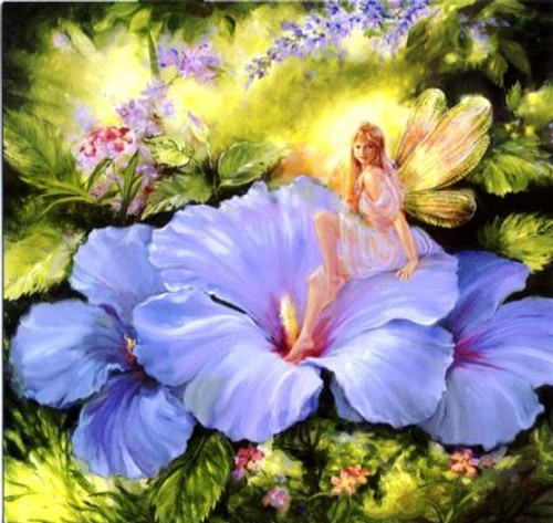5D Diamond Painting Blue Flower Fairy Kit