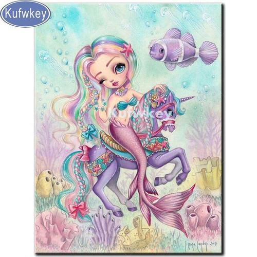 5D Diamond Painting Little Mermaid on a Unicorn Kit