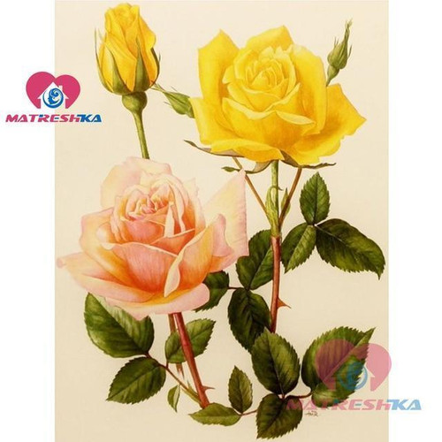 5D Diamond Painting Yellow and Pink Roses Kit