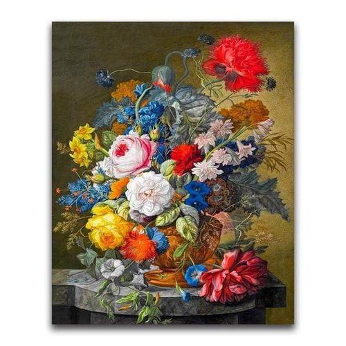 5D Diamond Painting Stone Table Flowers Kit