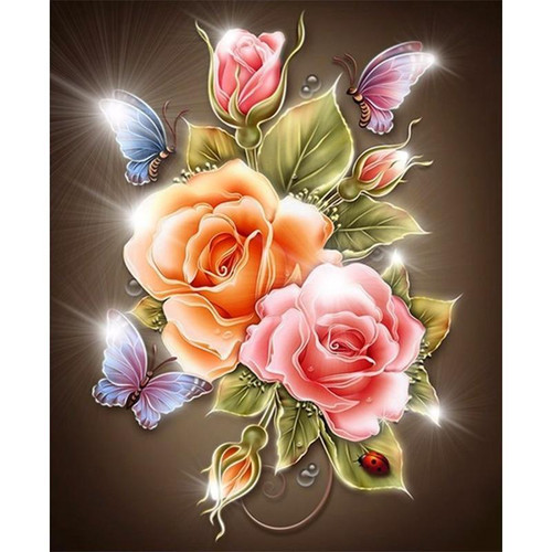 5D Diamond Painting Brilliant Butterflies and Roses Kit