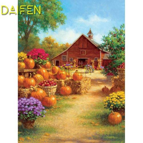 5D Diamond Painting Barn Pumpkin Patch Kit
