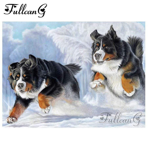 5D Diamond Painting Two Dogs in the Snow Kit