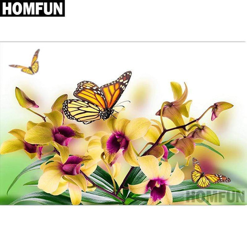 5D Diamond Painting Yellow Butterflies and Flowers Kit