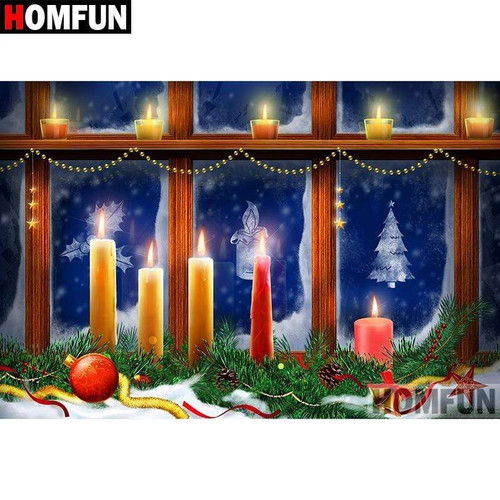 5D Diamond Painting Christmas Candles in the Window Kit