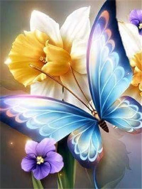 5D Diamond Painting Blue Wing Butterfly in the Flowers Kit