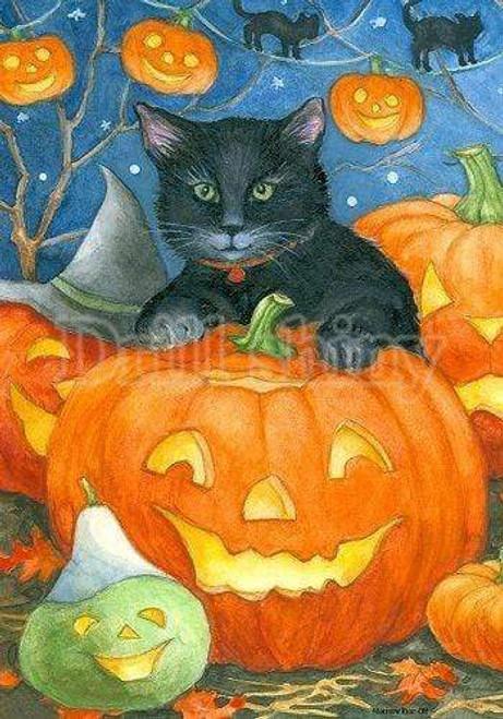 5D Diamond Painting Cat and Jack-o-lantern Kit
