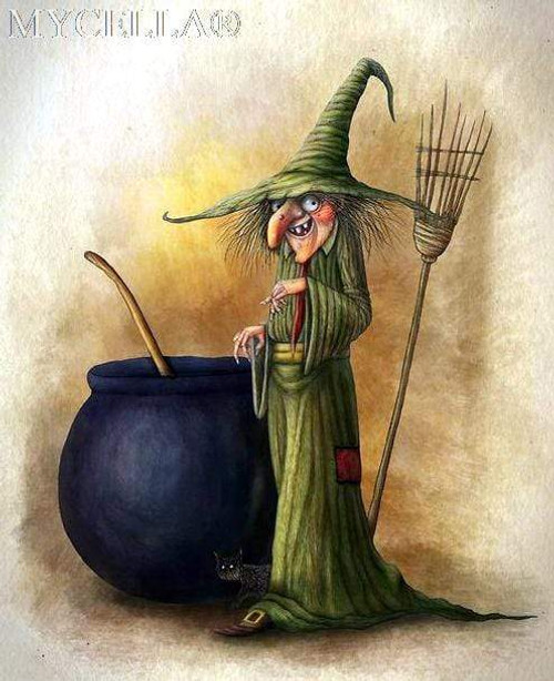 5D Diamond Painting Green Dressed Witch Kit