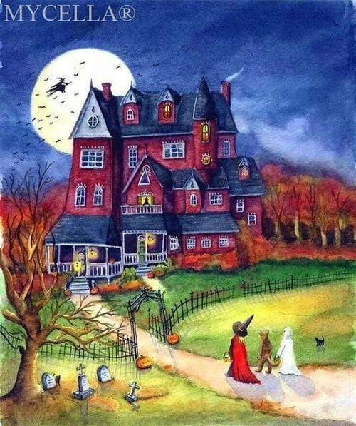 5D Diamond Painting Red Haunted House Kit