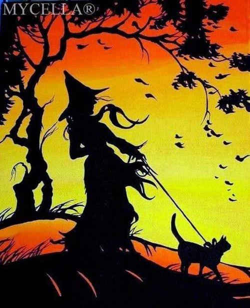 5D Diamond Painting Witch Silhouette with Her Cat Kit