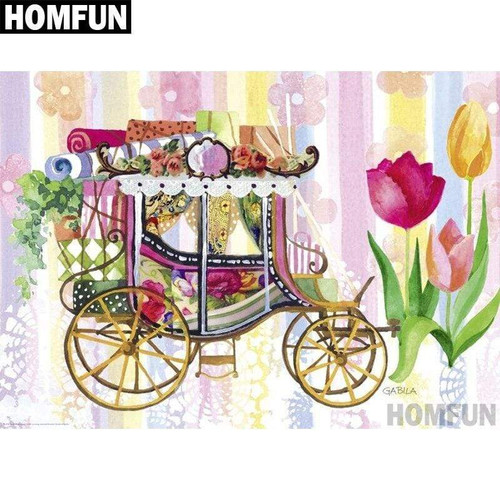 5D Diamond Painting Carriage and Tulips Kit