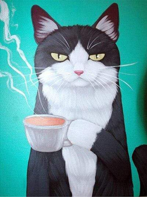 5D Diamond Painting Black and White Cat & His Coffee Kit