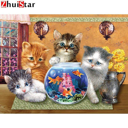 5D Diamond Painting Four Kittens and the Fish Bowl Kit