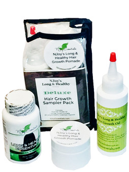 Deluxe Sampler Pack contains Trial Size Hair Growth Oil, Trial Size Hair Growth Pomade and 30-day supply of Long & Healthy Essential in a convenient zippered travel pouch.