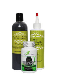 Our 30-day Hair Growth Combo Deluxe offers our signature Long & Healthy Hair Growth Oil, Long & Healthy Essentials Super Hair Growth Vitamins and our Platinum Purifying Hair & Scalp Detox.