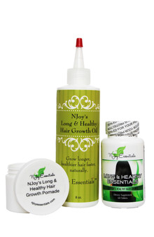 Full-size bottle of hair growth oil + Long & Healthy Essentials Super Hair Growth Vitamins +  FREE Hair Growth Pomade