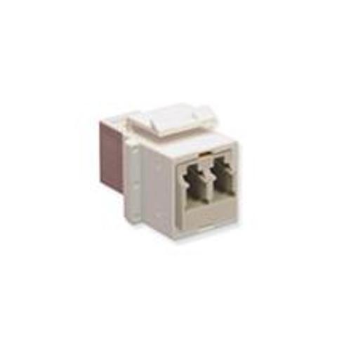 Fiber coupler keystone insert, duplex LC, white, ICC