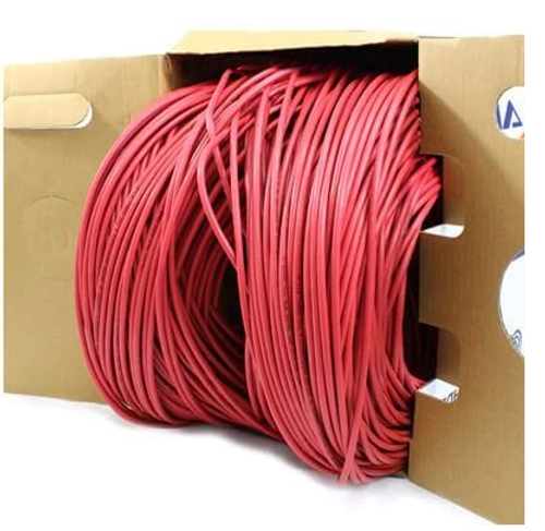CAT5E Plenum 4 Pair 350MHz Solid, Red, 1000' Per Box