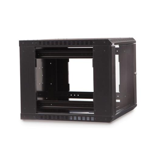 9U LINIER® Fixed Wall Mount Cabinet - Glass Door