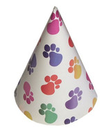 Rainbow Paw Print Dog Birthday Hat (Set of 4)