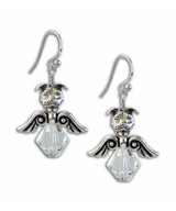 Crystal Pit Bull Angel Earrings