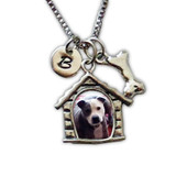 Dog House Photo Necklace with Charms