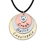 Triple Disc Custom Name Pit Bull Necklace (Tri-Color)